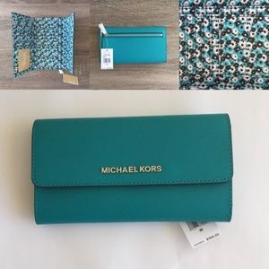 Michael Kors Jet Set Trifold Wallet Tile Blue